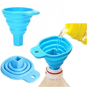Portable Retractable Home Kitchen Funnel - Blue