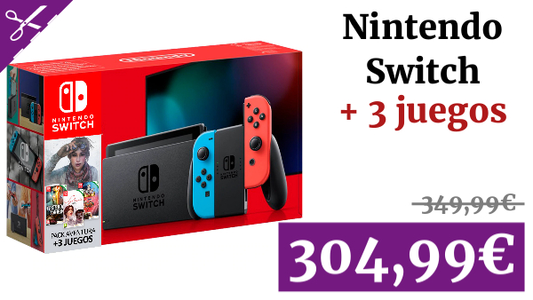 Consola Nintendo Switch Pack Aventura (incluye 3 juegos: Syberia - Yesterday - Super Chariot)