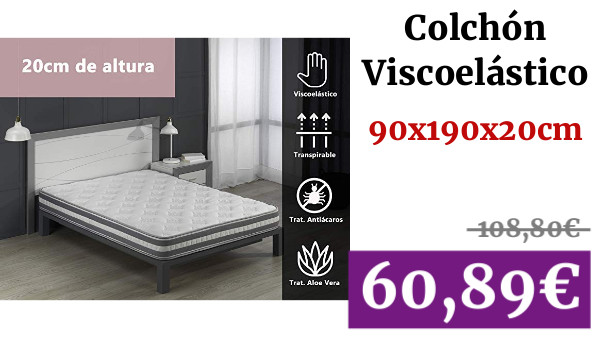 150 x 190 MICAMAMELLAMA Colch/ón Viscoel/ástico VISCO Confort Fresh 3D Reversible Todas Las Medidas