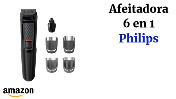 Philips MULTIGROOM Series 3000 Cara 6 en 1 MG3710/15 - Afeitadora (Negro, Rectángulo, Barba, Oído, Ceja, Nariz, Acero inoxidable, 60 min, Integrado)