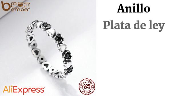 03f80f92c48c BAMOER genuino Plata de Ley 925 anillo de corazón negro CZ anillos de dedo  para las