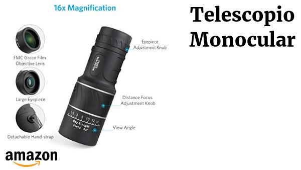 Telescopio Monocular 16x52 Doble Visi/ón Larga Zoomable Optical Vision muy clara para la Caza Acampada,Concierto Observaci/ón de Aves 66m // 8000m