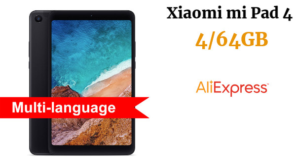 Xiaomi mi Pad 4 tableta de 8 pulgadas, 4/64GB 1920x1200 FHD 13.0MP + 5.0MP AI Face ID Android 8,0 Tablet tipo-C