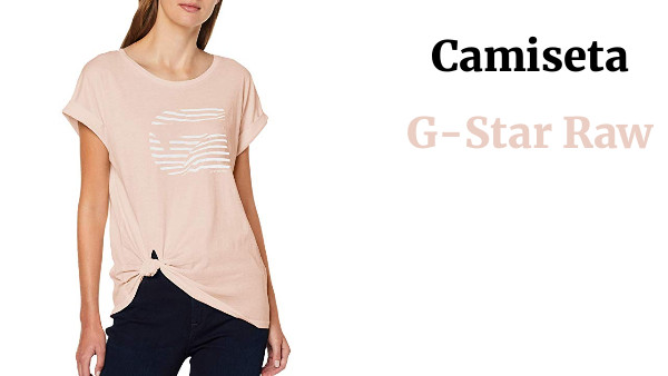 G-STAR RAW Graphic 23 Caper Knotted Cap Sleeve Round Neck Camiseta para Mujer